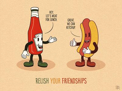 Relish Your Friendships_BRD_5-27-21 puns cartoon characters procreate brushes procreate art illustration friends relish ketchup hot dog inkblot rubber hose 1930s cartoons vintage retro
