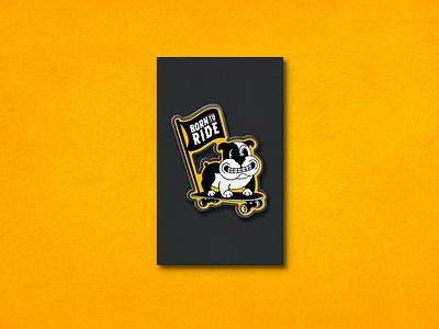 Born To Run Pin_BRD_6-2-21 mockup skateboard bulldog pin mockup enamel pin