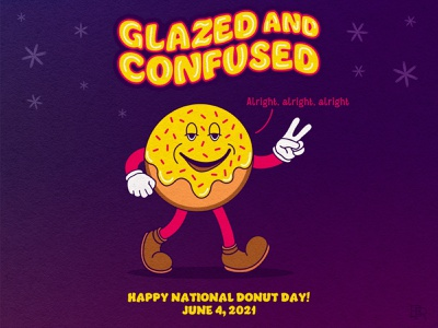 National Donut Day_BRD_6-4-21 procreate illustration national donut day dazed and confused doughnuts donuts rubber hose 1930s inkblot cartoon character mascot vintage retro procreate brushes