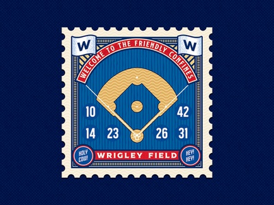 Wrigley Field Postage Stamp Concept BRD 2-7-19 vector illustrator stamp postage stamp baseball chicago wrigley field