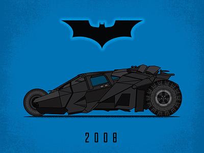 2008 Batmobile BRD 2-25-19 illustrator vector illustration automobile tumbler car batman batmobile 2008