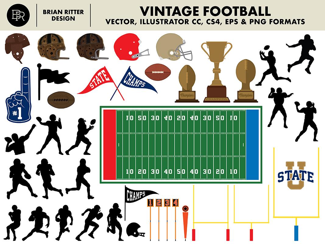 Vintage Football Graphics_BRD_5-20-19 trophies pennants sports illustrations illustrator vector graphics retro vintage football