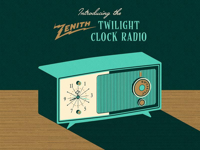 Mid-Century Radio_BRD_10-18-19 high contrast halftone illustrator vector illustration clock radio radio mid-century vintage retro