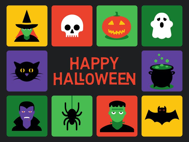 Halloween Icons_BRD_10-30-19 jackolantern skeleton skulls cauldron black cat pumpkin skull bat ghost spider frankenstein vampire witch halloween icons vector illustration illustrator