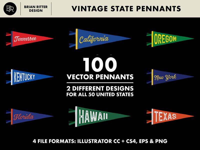 US State Pennants_BRD_12-20-19 illustration illustrator americana creativemarket vector united states vintage retro pennants flags