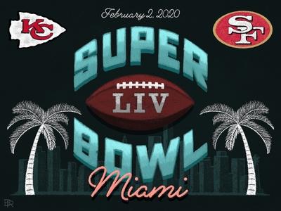 Super Bowl LIV_Chalk Illustration_BRD_1-31-20 chalk brushes illustration chalk miami football super bowl procreate