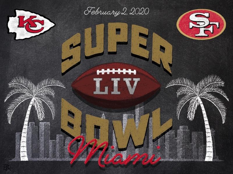 Super Bowl LIV Chalk Illustration - version 2 chalk illustration football super bowl procreate chalk brushes