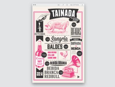 Poster TAINADA design branding barbeque american reto pink graphic design publicity design etching retro lettering poster art