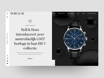 Unused proposal for design Online Magazine design ui magazine design black and white fragrance watch webdesign website web magazine