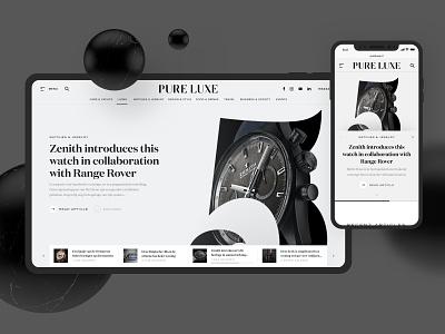 Pure Luxe | Online Magazine - On Behance now! webdesign branding magazine typography design ui