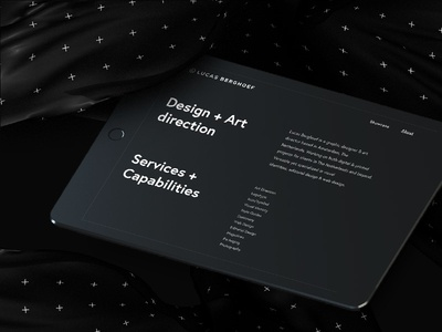 My New Visual Identity on Behance (About Page on iPad)