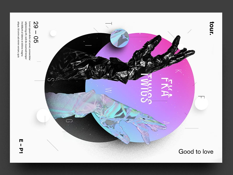 FKA twigs - Concert Poster - Experiment berghoef lucas hands vogue colours neon bright experiment poster fka twigs