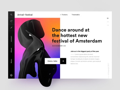 Arrival—festival gradient webdesign ux ui dance festival