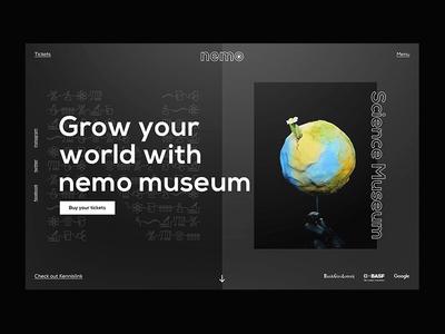Grow your world with Nemo | Desktop Webdesign museum memo ui black minimal discover captured frame card webdesign