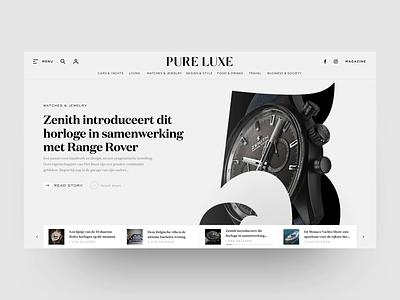 Redesign for Online Luxury Magazine online magazine webdesign animation motion design redesign logo magazine typography design ui