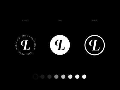 Monogram Pure Luxe white black high-end luxury magazine pure luxe monogram logo
