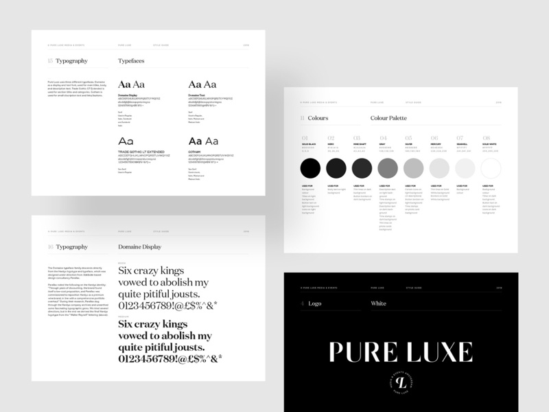 Style Guidelines - Pure Luxe brand identity style guide style guidelines identity brand luxury design