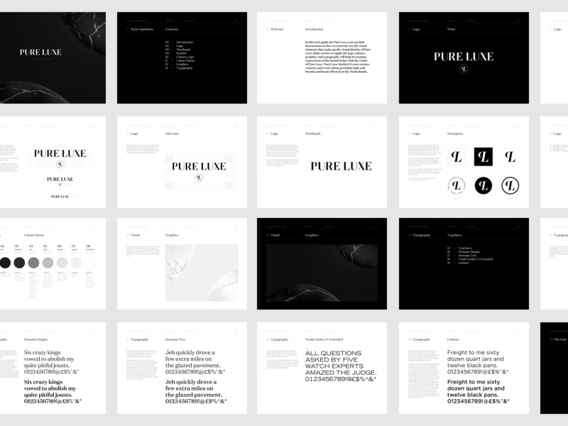 Style Guidelines - Pure Luxe - All Pages black and white logo brand luxury pure luxe style guidelines brand identity identity guidelines style