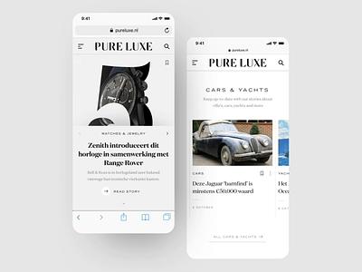 Mobile Screens of Pure Luxe Online Magazine website luxury online magazine user interface ui design webdesign uiux ui  ux ui