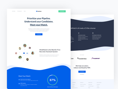 Redesign of MindMatch recruitment landingpage illustration ai
