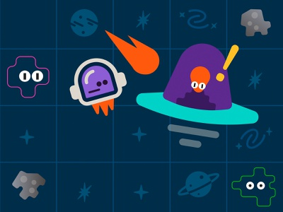 CloneComp 2021 - Day 3 - Submission - Space Game - Webflow fun playful colorfull simple illustration motion game webflow animation ui