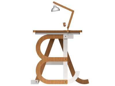 Persona Type Desk a b lamp design modular customizable 3d office lettering type desk