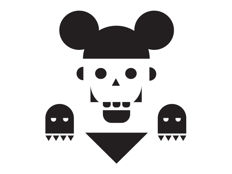 Mickey Mouse mickey mouse skeleton skelet halloween ghost horror dark scary bad simple vector solid jaw