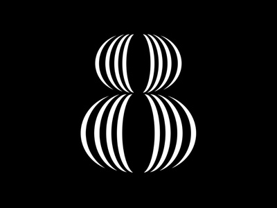 8 geometrical black and white lines collab animation motion experiment challenge 8 letter fontface black  white minimal typeface typography 36daysoftype