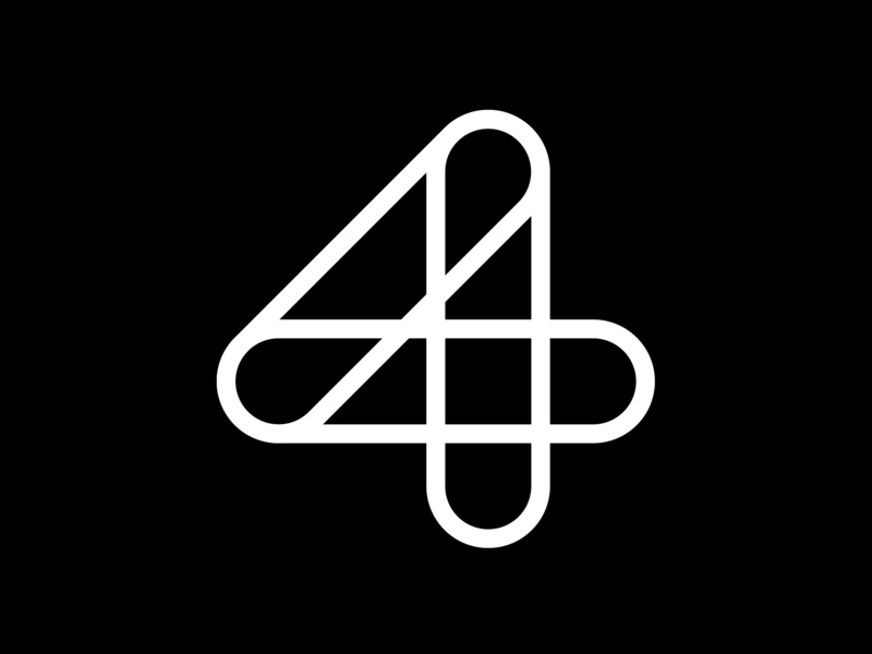 4 adobe challenge white black line 4 minimal number typography typeface fontface 36 days of type lettering 36 days of type
