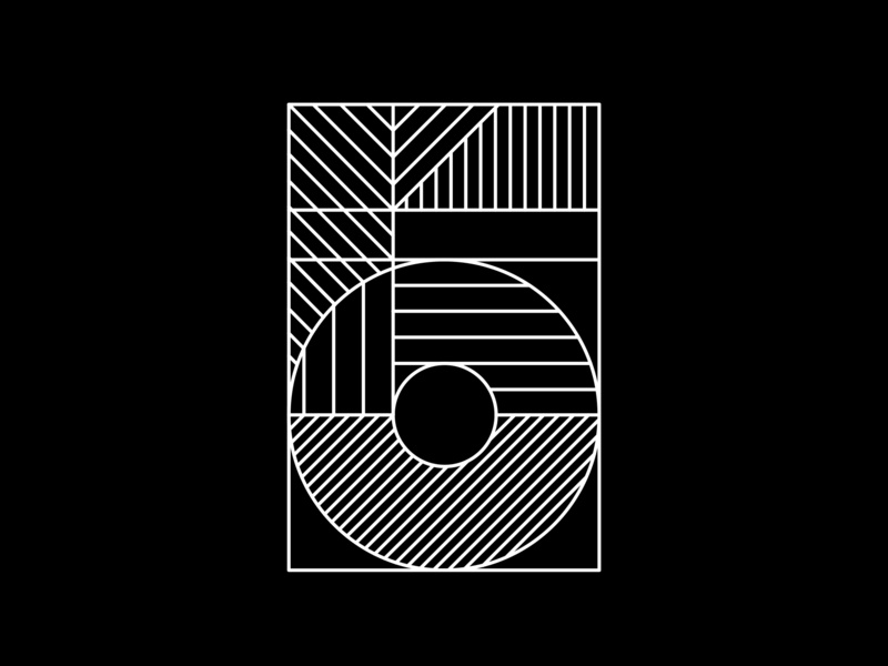 5 line minimal black white 5 number typography fontface typeface adobe challenge 36 days of type