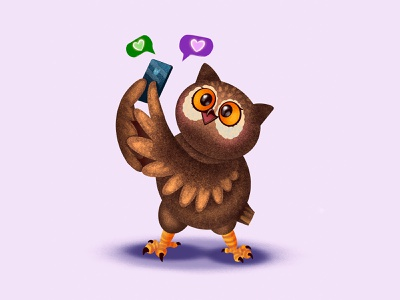 Like time! bird character social network like smartphone owl animals app illustration