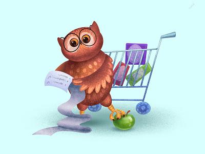 Shopping checklist shopping owl character bird animals illustration