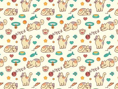 vector seamless pattern seamless cat vector pattern design illustration character animals