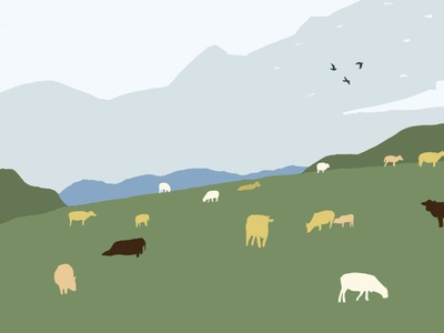 牛羊下山 sheep nature sky mountain landscape illustration
