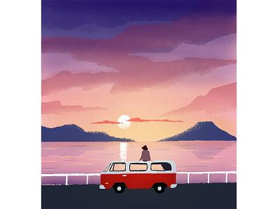 Waiting lonely girl sky sunset landscape illustration waiting