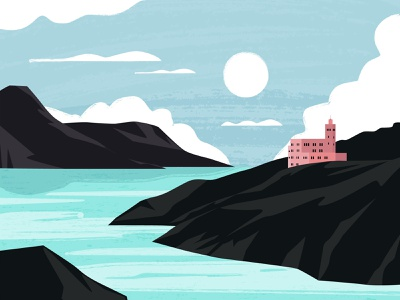Island landscape mountain illustration sea island