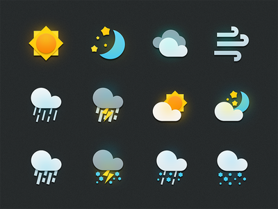 Weather icons app ui weather icons logo illustration icon