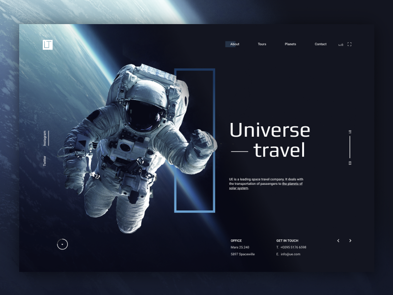 Universe Travel layout website grid ui interface astronaut landing page travel space