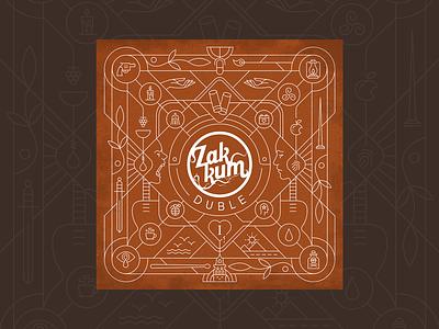 "ZAKKUM Album ""DUBLE- I & II"" Cover Art album artwork duble istanbul zakkum music band music album cover icon vector design drawing illustration"