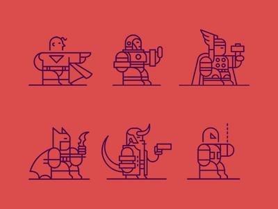 Super Heroes Icons hellboy spider man thor iron man superman batman icon line icon vector super heroes