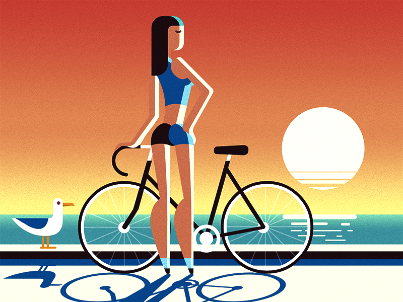 Sunset girl bike illustration seagull sun beach sunset