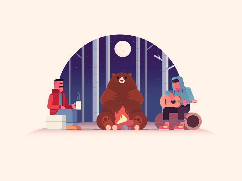 Intruder:) coffee guitar night midnight forest wood bear camping camp