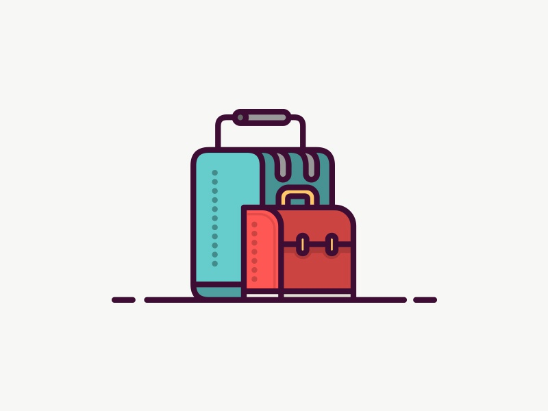 Suitcase Icon illustration blue red line simple icon bag