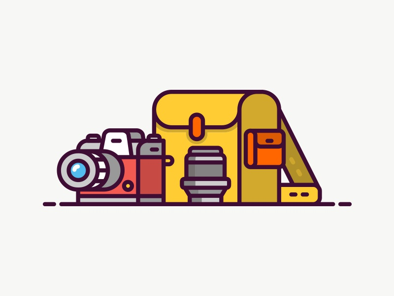 Camera Icon lens bag camera line art simple line icon illustration