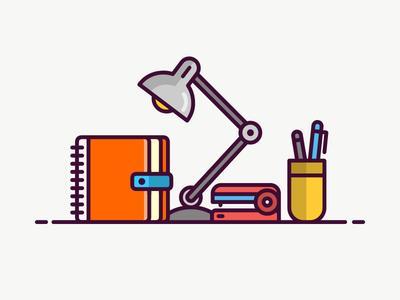 Office Icon pencil box staple work lamp mug diary illustration icon line simple line art