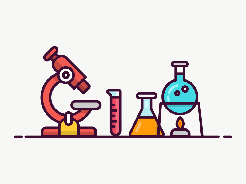 Lab Icon slide eyepiece lens bunsen burner tube test tube flame tripod flask microscope icon lab