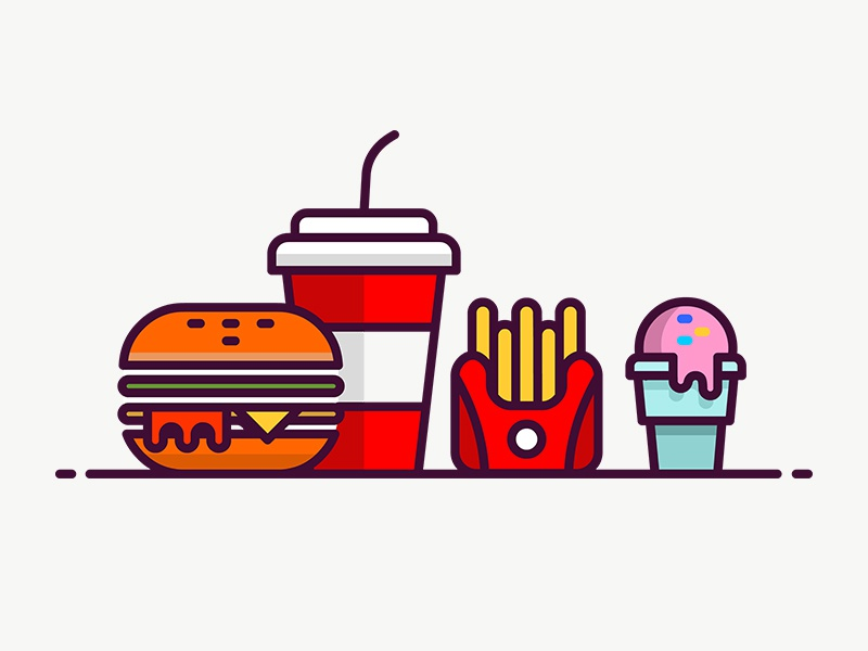 Fast Food Icon illustration fries soft drink food ice cream fast food burger icon