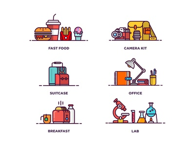 Icon Set P.I line illustration camera breakfast office business lab fast food set icon set illustration icon
