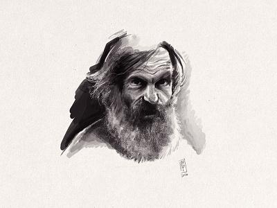 Oldman Portrait ink black drawing sketch oldman