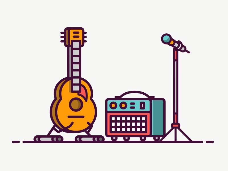 Music Equipment Icon icon microphonei line guitar amphi music
